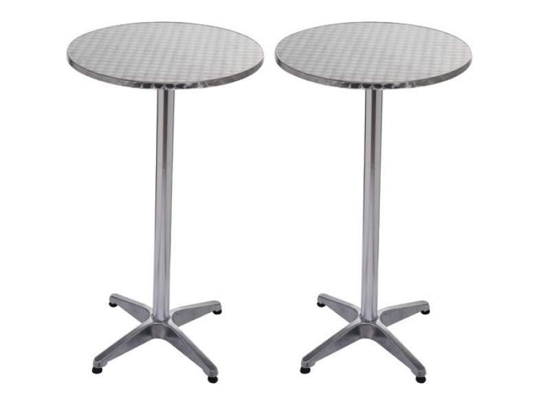 4445 2x Alu Bistro-Tisch Stehtisch rund