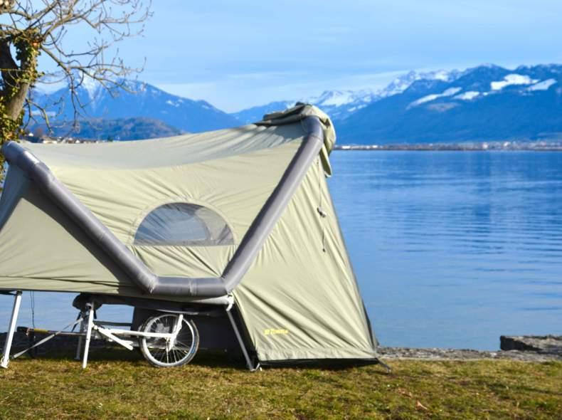 24893 Camping mit Fahrradzelt-Anhänger