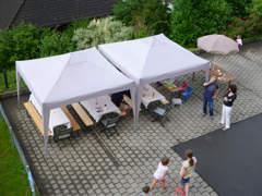 9152 1 hellgrauer Falt-Pavillon 3 x 3 m