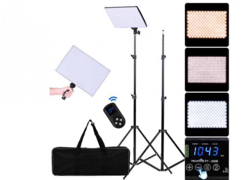 12361 2x LED Videolicht mit Stativ